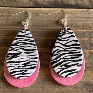Pink metallic zebra print earrings